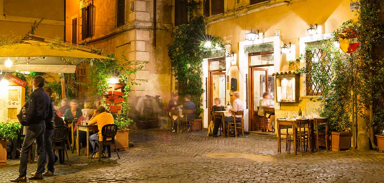 Historical trattoria in Rome, one of the stops during Evening Wine Tour Rome