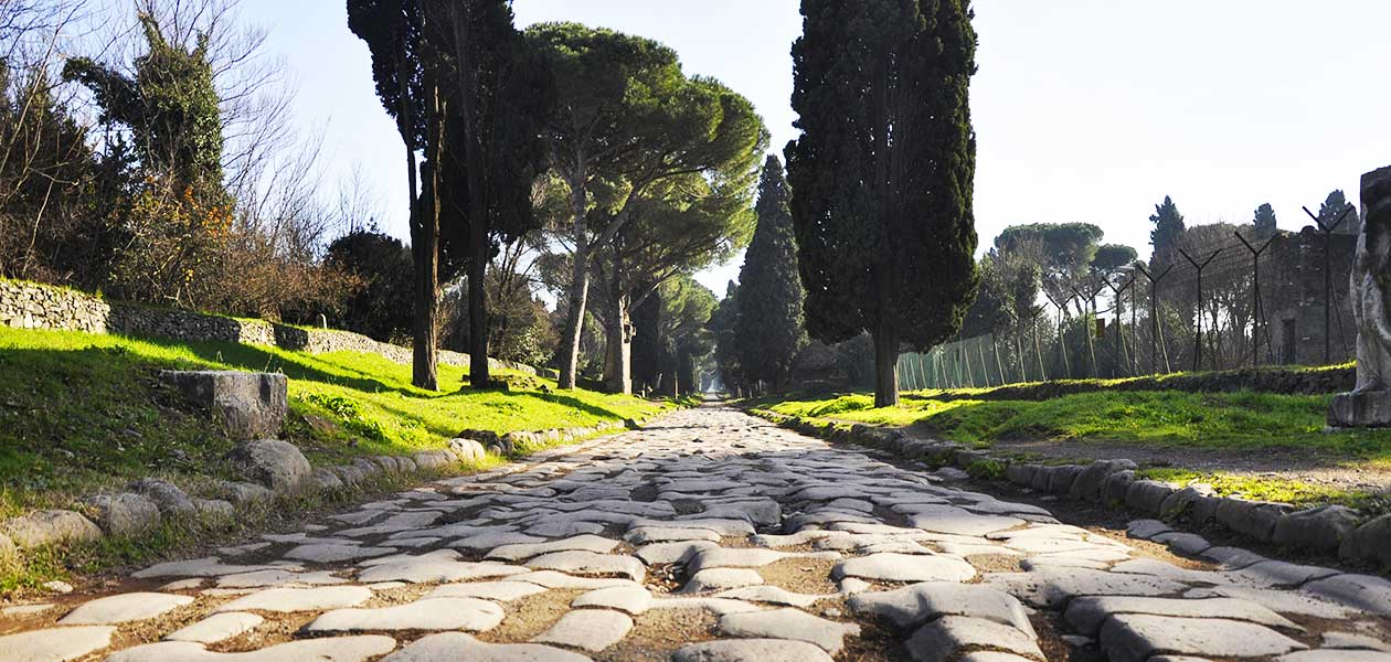 View of the Appian Way during the Rome Catacombs Tour