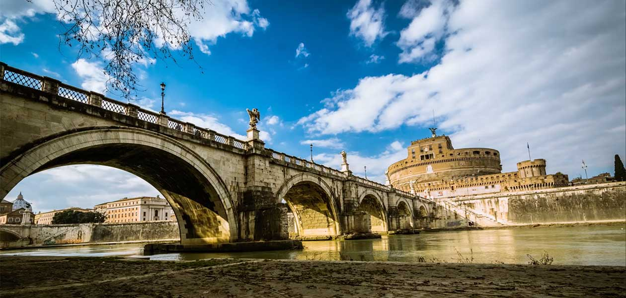 View of Ponte St. Angelo in Rome as seen during the Bernini Walking Tour Rome