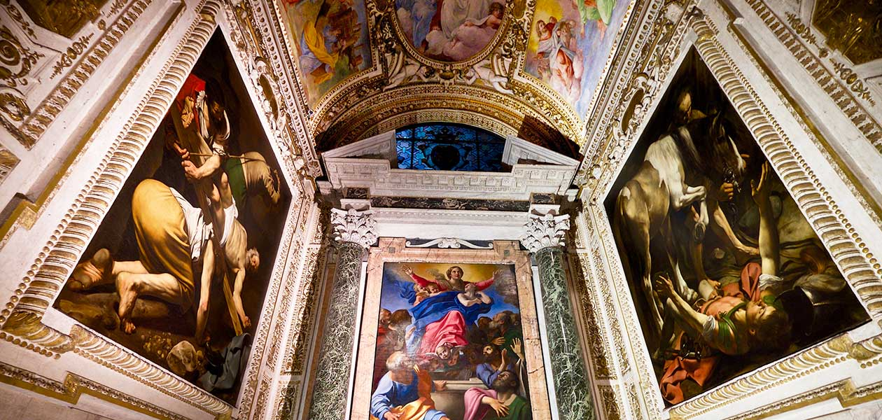 Caravaggio's paintings in Santa Maria del popolo seen during Caravaggio Tour Rome